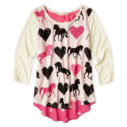 Self Esteem® 3/4-Cinch Sleeve Top - Girls 7-16