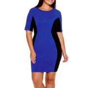 Bisou Bisou® Elbow-Sleeve Colorblock Sheath Dress - Plus