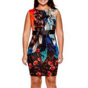 Bisou Bisou® Sleeveless Print Sheath Dress - Plus