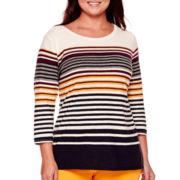 Stylus™ 3/4-Sleeve Striped T-Shirt - Plus