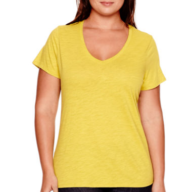 jcpenney.com | Stylus™ Short-Sleeve V-Neck Slub Tee - Plus