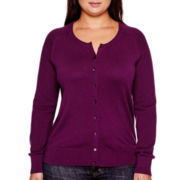 Stylus™ Long-Sleeve Button-Front Cardigan - Plus