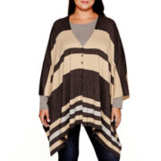 Stylus™ Striped Poncho Sweater - Plus