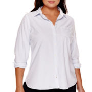 Stylus™ Long-Sleeve Relaxed-Fit Essential Shirt - Plus