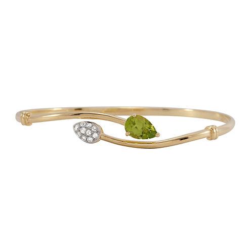 Genuine Peridot and Lab-Created White Sapphire Bangle Bracelet