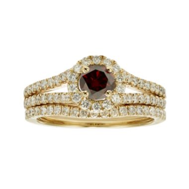 jcpenney.com | 1 CT. T.W. Certified White and Color-Enhanced Red Diamond Bridal Ring Set