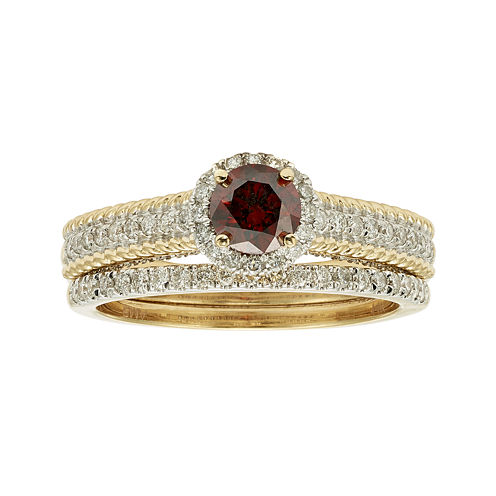 1 CT. T.W. Certified White and Color-Enhanced Red Diamond Bridal Ring Set
