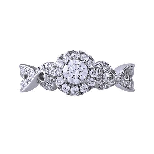 Opulent Diamond 5/8 CT. T.W. Certified Diamond 14K White Gold Twist Ring