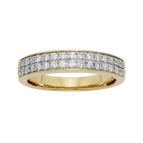 1/2 CT. T.W. Certified Diamond Double-Row 14K Yellow Gold Wedding Band