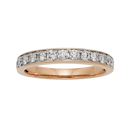 1/2 CT. T.W. Certified Diamond Single-Row Rose Gold Wedding Band
