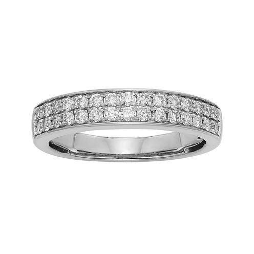 1/2 CT. T.W. Certified Diamond Double-Row White Gold Wedding Band