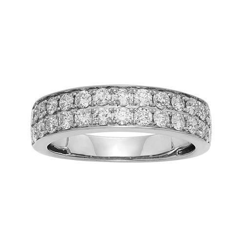 1 CT. T.W. Certified Diamond Double-Row White Gold Wedding Band