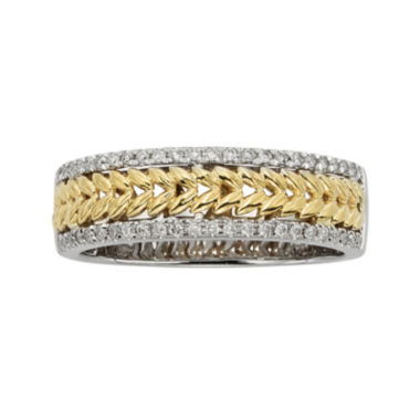 jcpenney.com | 1/4 CT. T.W. Diamond Leaf 14K Two-Tone Gold Wedding Band