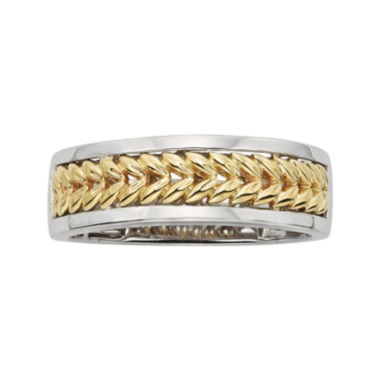 jcpenney.com | Mens Leaf 14K Two-Tone Gold Wedding Band
