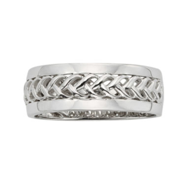 jcpenney.com | Mens Braided 14K White Gold Wedding Band