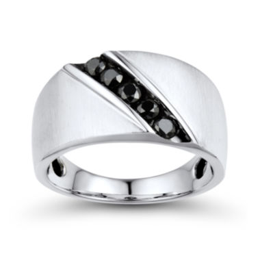 jcpenney.com | Mens 1/2 CT. T.W. Color-Enhanced Black Diamond 10K White Gold Comfort Fit Ring
