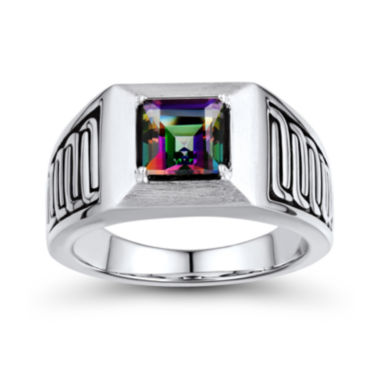 jcpenney.com | Mens Genuine Mystic Fire Topaz Sterling Silver Comfort Fit Ring