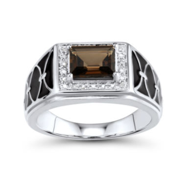 jcpenney.com | Mens Genuine Smoky Quartz and Diamond-Accent Sterling Silver Comfort Fit Ring