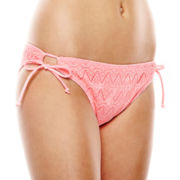 Arizona Crochet Side-Tie Hipster Swim Bottoms - Juniors
