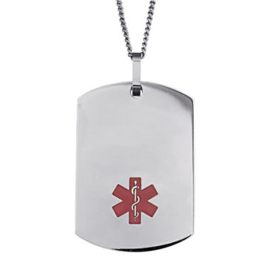 jcpenney.com | Personalized Stainless Steel Dog Tag Medical ID Necklace