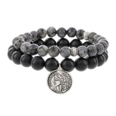 jcpenney.com | Dee Berkley Mens Genuine Black Agate and Labradorite Bead Stretch Bracelets