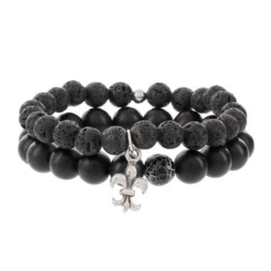 jcpenney.com | Dee Berkley Mens Black Agate and Lava Stone Bead Stretch Bracelets