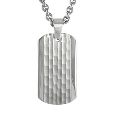 jcpenney.com | Mens Stainless Steel Hammered Dog Tag Pendant Necklace