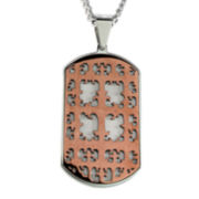 Mens Two-Tone Stainless Steel Cutout Cross Dog Tag Pendant Necklace