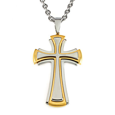 Mens two tone stainless steel cross pendant necklace jcpenney mens two tone stainless steel cross pendant necklace aloadofball