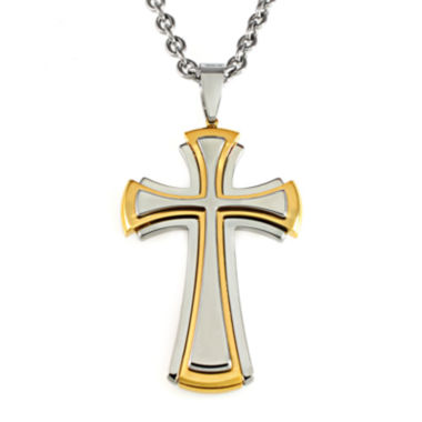jcpenney.com | Mens Two-Tone Stainless Steel Cross Pendant Necklace