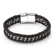 Mens Braided Black Leather and Stainless Steel Bracelet