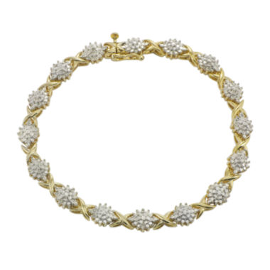 jcpenney.com | 1/10 CT. T.W. Diamond Cluster 14K Yellow Gold Over Sterling Silver Bracelet