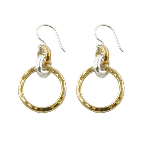 Art Smith by BARSE Two-Tone Hammered Drop Earrings