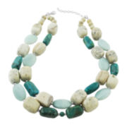 Art Smith by BARSE Genuine Turquoise and African Opal Two-Row Bead Necklace