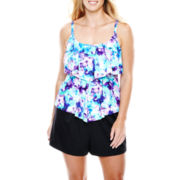 Azul by Maxine of Hollywood Tiered Tankini Swim Top or Boardshorts - Plus
