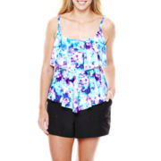 Azul by Maxine of Hollywood Tiered Tankini Swim Top or Jogger Shorts - Plus