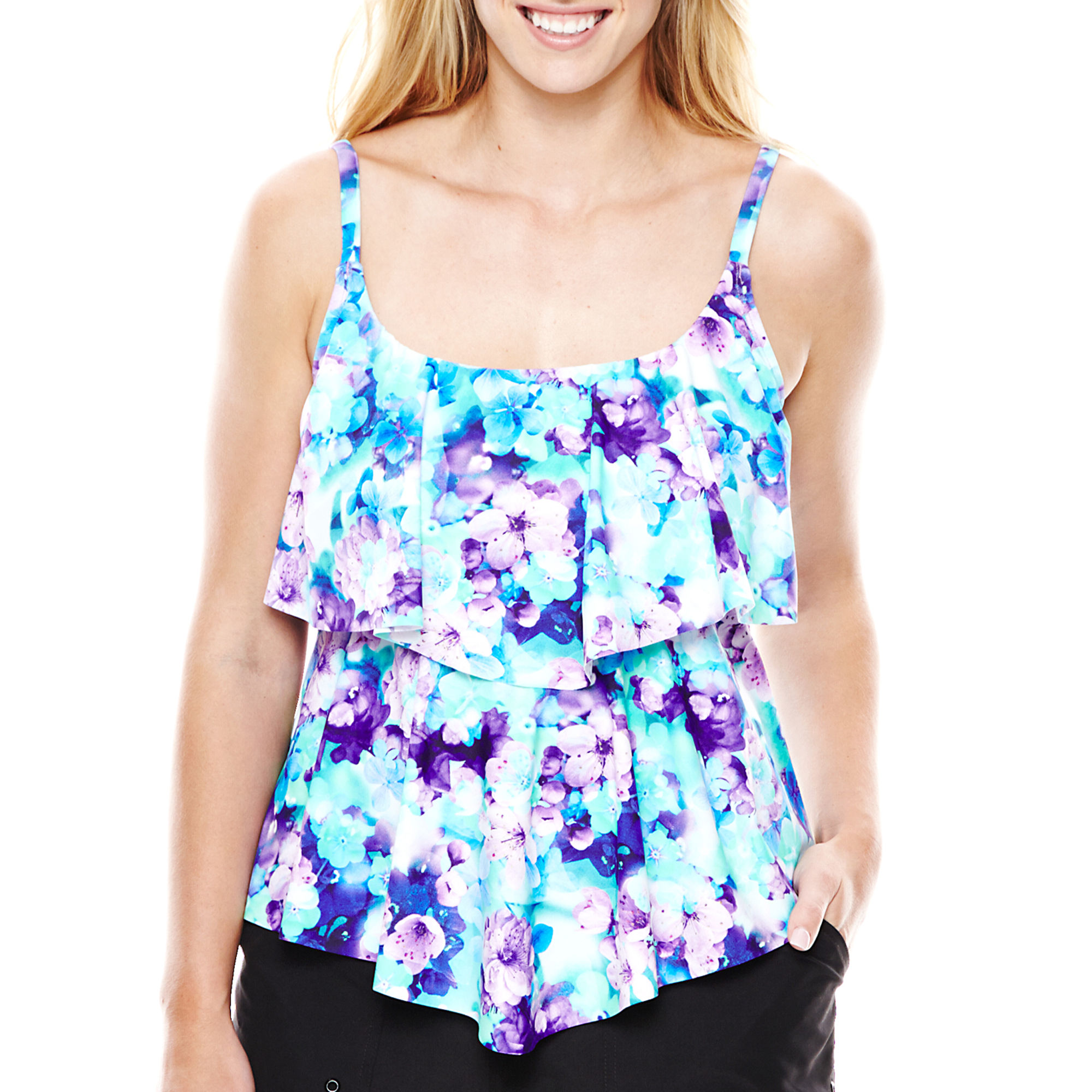 Azul by Maxine of Hollywood Double-Tiered Tankini Swim Top - Plus