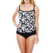 Azul by Maxine of Hollywood Faux Tankini 1-Piece Swimsuit - Plus