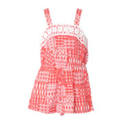 Pinky Coral Lace-Trimmed Romper - Toddler Girls 2t-4t