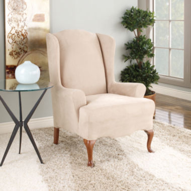 jcpenney.com | SURE FIT® Stretch Faux-Suede 1-pc. Wing Chair Slipcover
