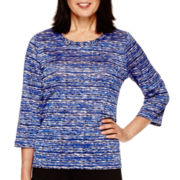 Alfred Dunner® Keep It Modern 3/4-Sleeve Spacedye Knit Top