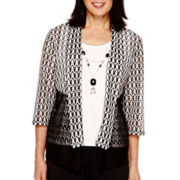 Alfred Dunner® Keep It Modern 3/4-Sleeve Textured Layered Top with Necklace