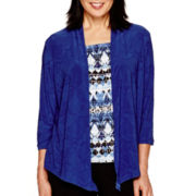 Alfred Dunner® Keep It Modern 3/4-Sleeve Geometric Ruffle Layered Top