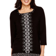 Alfred Dunner® Keep It Modern 3/4-Sleeve Center-Beaded Geometric Top