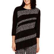 Alfred Dunner® Keep It Modern 3/4-Sleeve Striped Knit Top