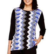 Alfred Dunner® Keep It Modern 3/4-Sleeve Vertical Geometric Top