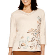 Alfred Dunner® Colorado Springs 3/4-Sleeve Asymmetric Embroidered Top