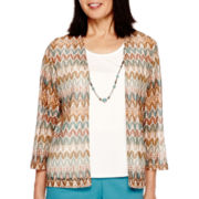 Alfred Dunner® Colorado Springs 3/4-Sleeve Biadere Layered Top with Necklace
