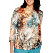 Alfred Dunner® Colorado Springs 3/4-Sleeve Feather Paisley Top