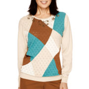Alfred Dunner® Colorado Springs Long-Sleeve Colorblock Pointelle Sweater